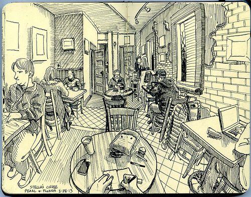 iç mekan kafeterya imgesel çizim