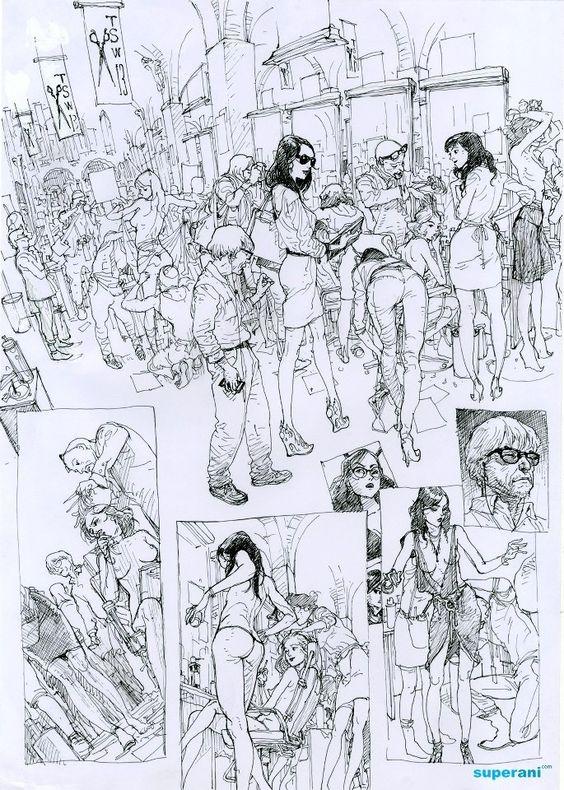 sokakta insanlar kalabalık imgesel çizim
