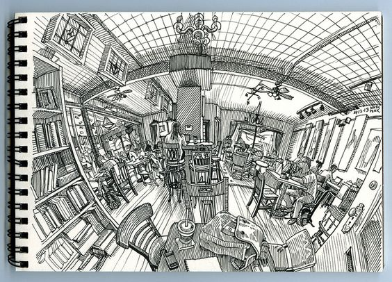 imgesel çizim balık gözü kütüphane çizimi