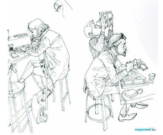 imgesel çizim yemek yiyen insanlar lokanta kafe